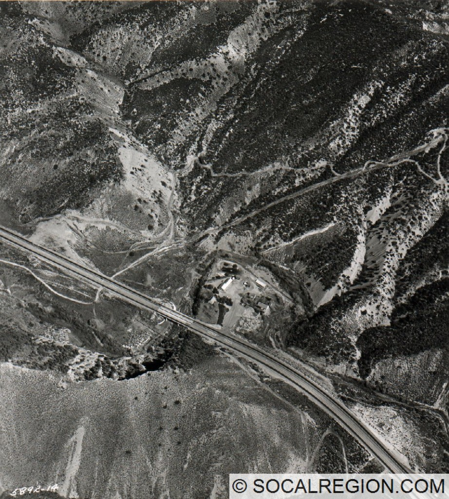 1958 view of the Oak Flat Maintenance Station, now submerged beneath Pyramid Lake.