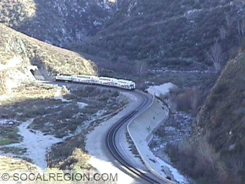 Metrolink passing through the Soledad Canyon Narrows.