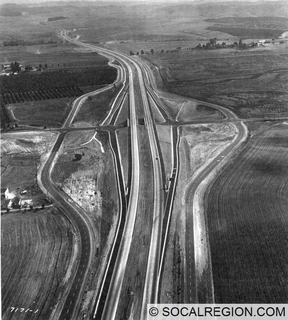 1958 view of the El Toro Road interchange, looking southerly. Courtesy - Caltrans.