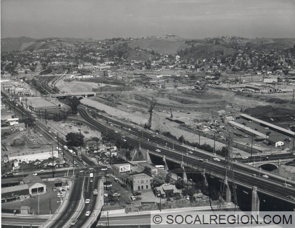 Arroyo Seco Parkway with the crossing of I-5 under construction in 1960.