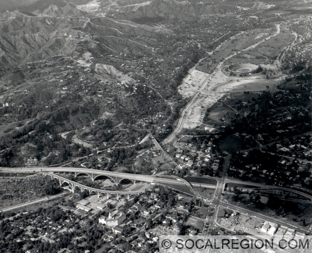 1966 view of the Arroyo Seco bridges.