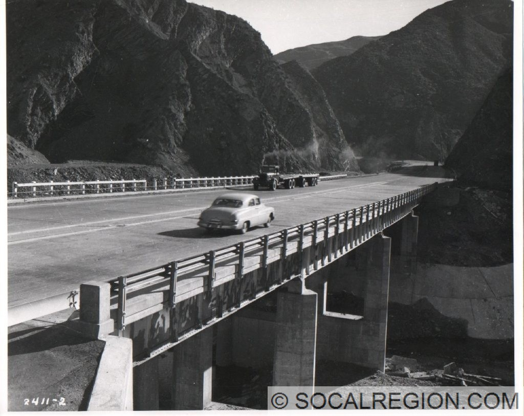 1951 view of one of the bridges now submerged beneath the lake. This was over Piru Creek near the site of the dam.