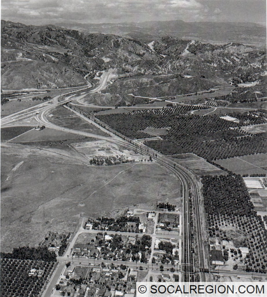 1950's view of the transition from the Golden State Freeway to San Fernando Road. This is near the site of the I-5 / I-210 interchange today.